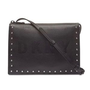 DKNY Commuter Pebble Leather Zip Logo Crossbody